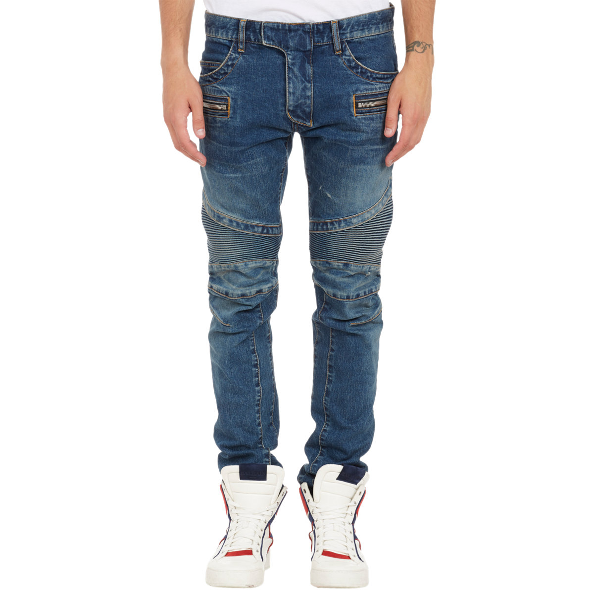 Balmain Denim Moto Jeans-Blue Size 31 In Blue For Men | Lyst