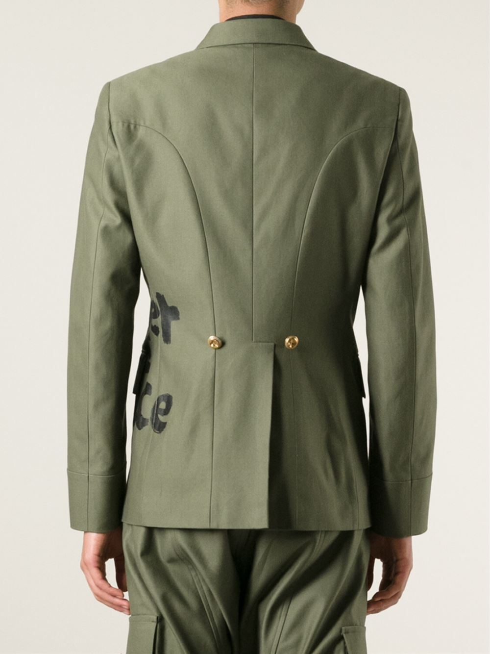 Comme des Garçons Graffiti Double Breasted Jacket in Green for Men