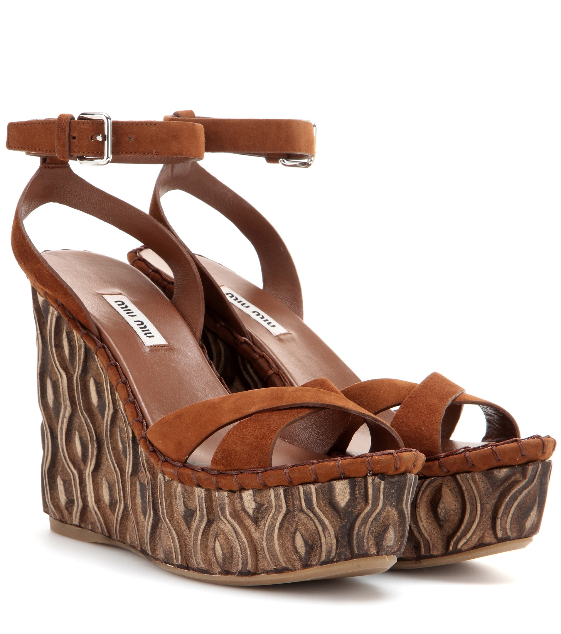 Lyst Miu Miu Suede Platform Wedge Sandals In Brown