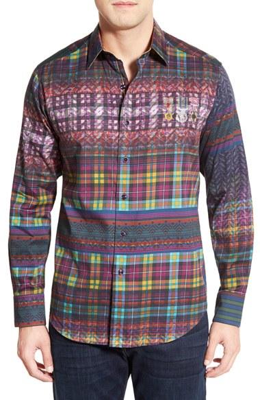 Robert Graham Purple 'kilt' Tartan Print Sport Shirt for men