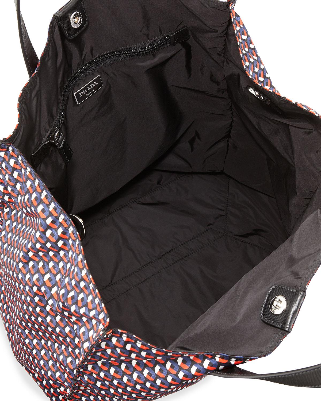 a22664790d3fe0 Prada Men's Octagon-print Nylon Tote Bag for Men - Lyst
