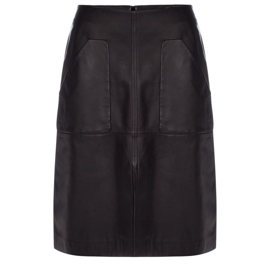 paul smith s black leather skirt in black lyst