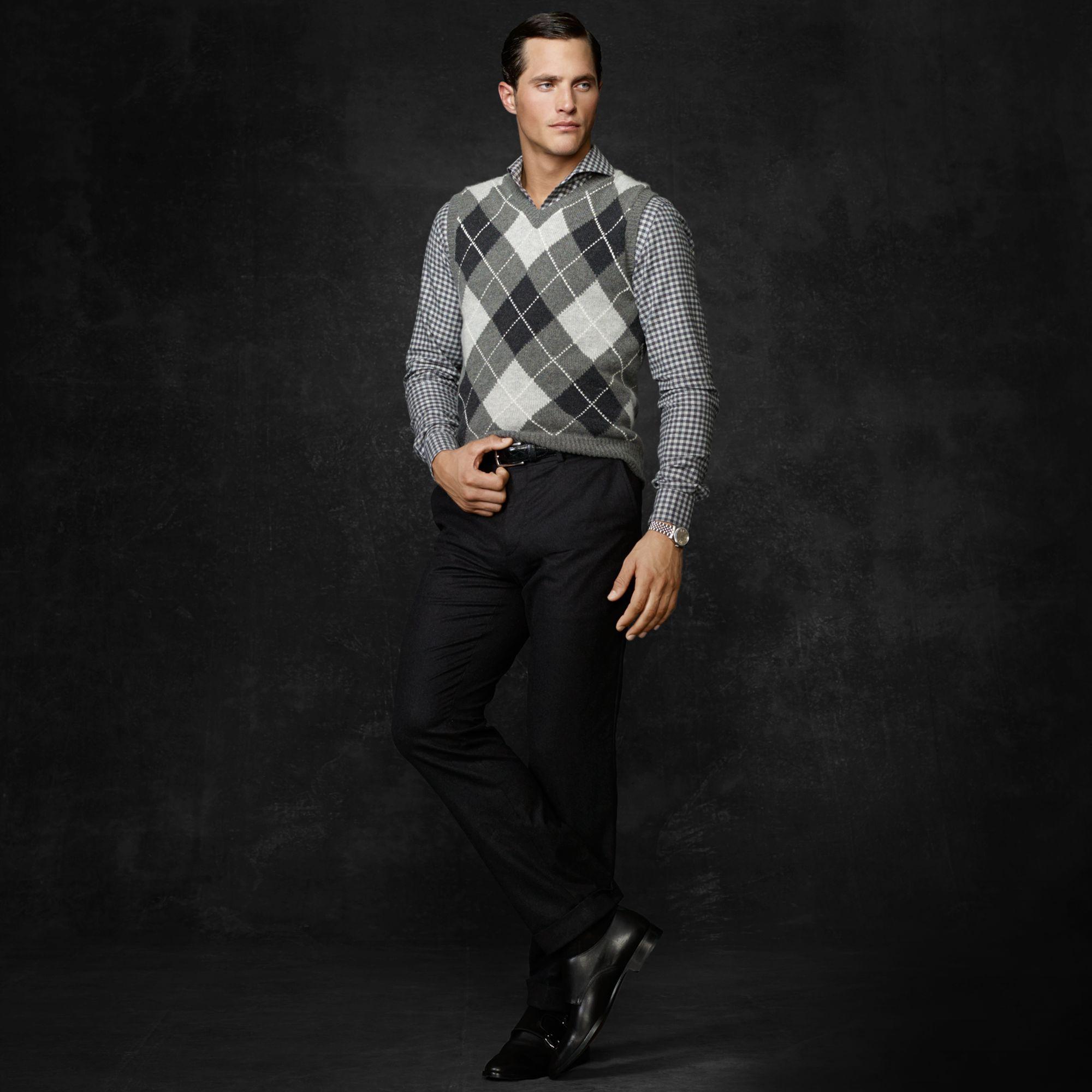 Ralph Lauren Purple Label Argyle Cashmere Sweater Vest In