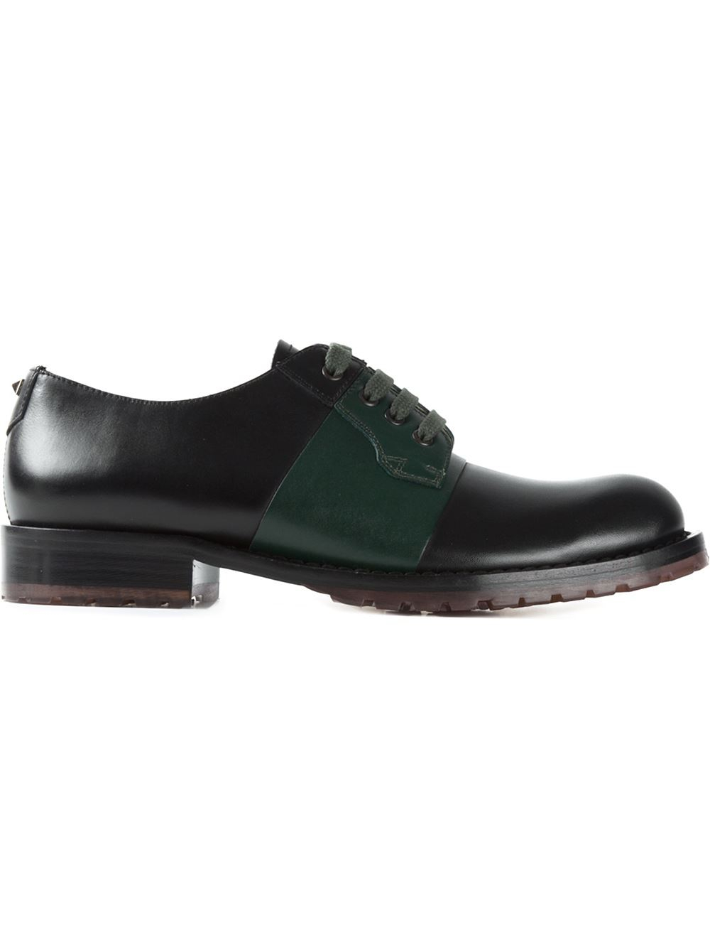 valentino open derby shoes in black for lyst
