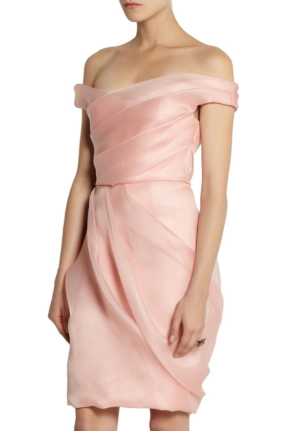 Lyst Lela Rose Pleated Silk Organza Dress In Pink