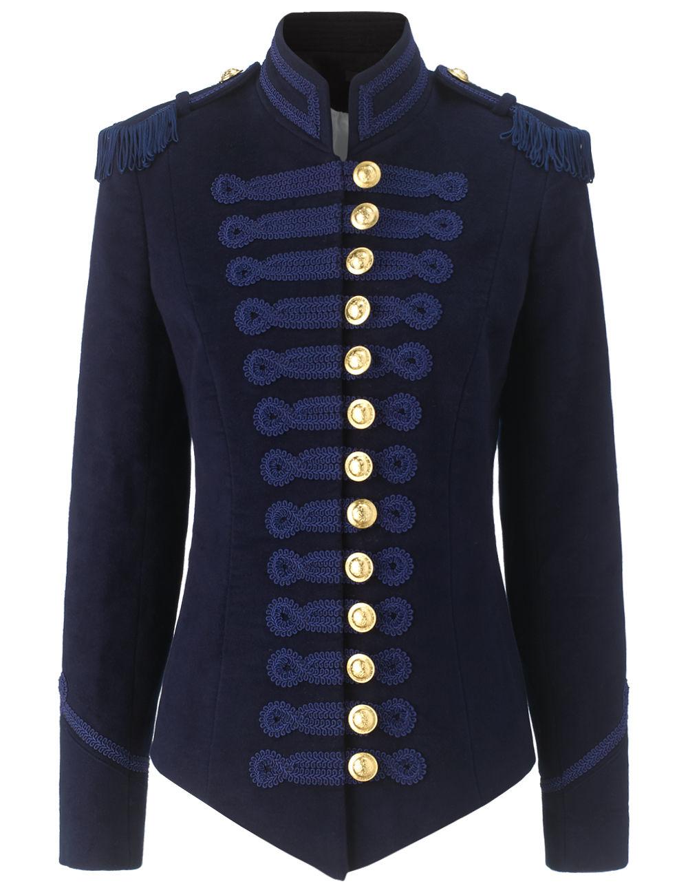 Pinky laing Navy Velvet Military Jacket in Blue | Lyst
