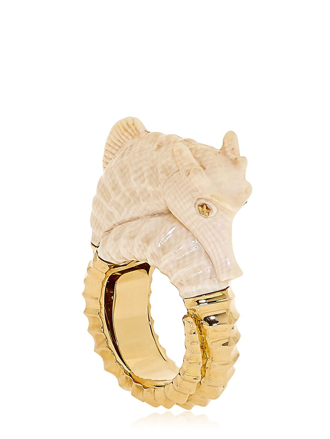 Bibi Van Der Velden Seahorse Ring in White/Gold (Natural)