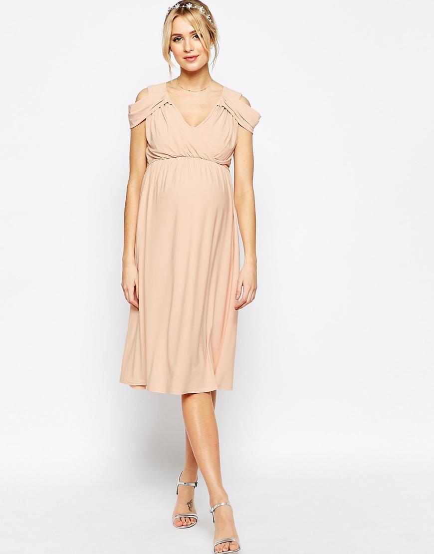 Asos Wedding Drape Cold Shoulder Midi Dress in Blue