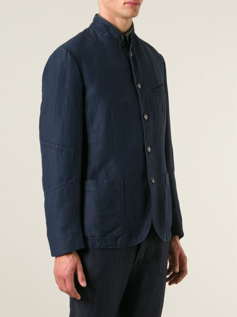 Lyst Massimo Alba Stand Up Collar Denim Jacket In Blue
