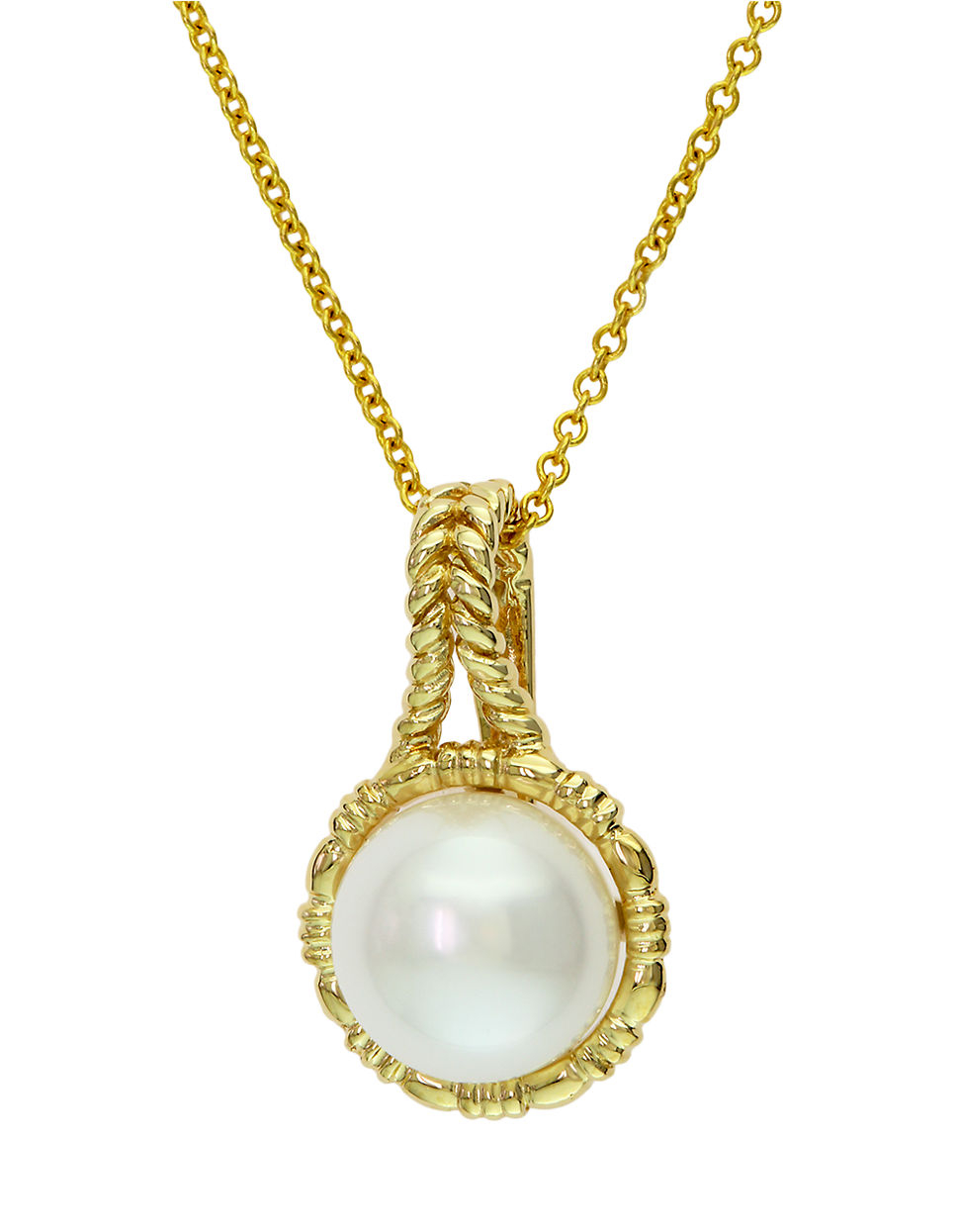 Effy 14k Yellow Gold Freshwater Pearl Pendant Necklace In