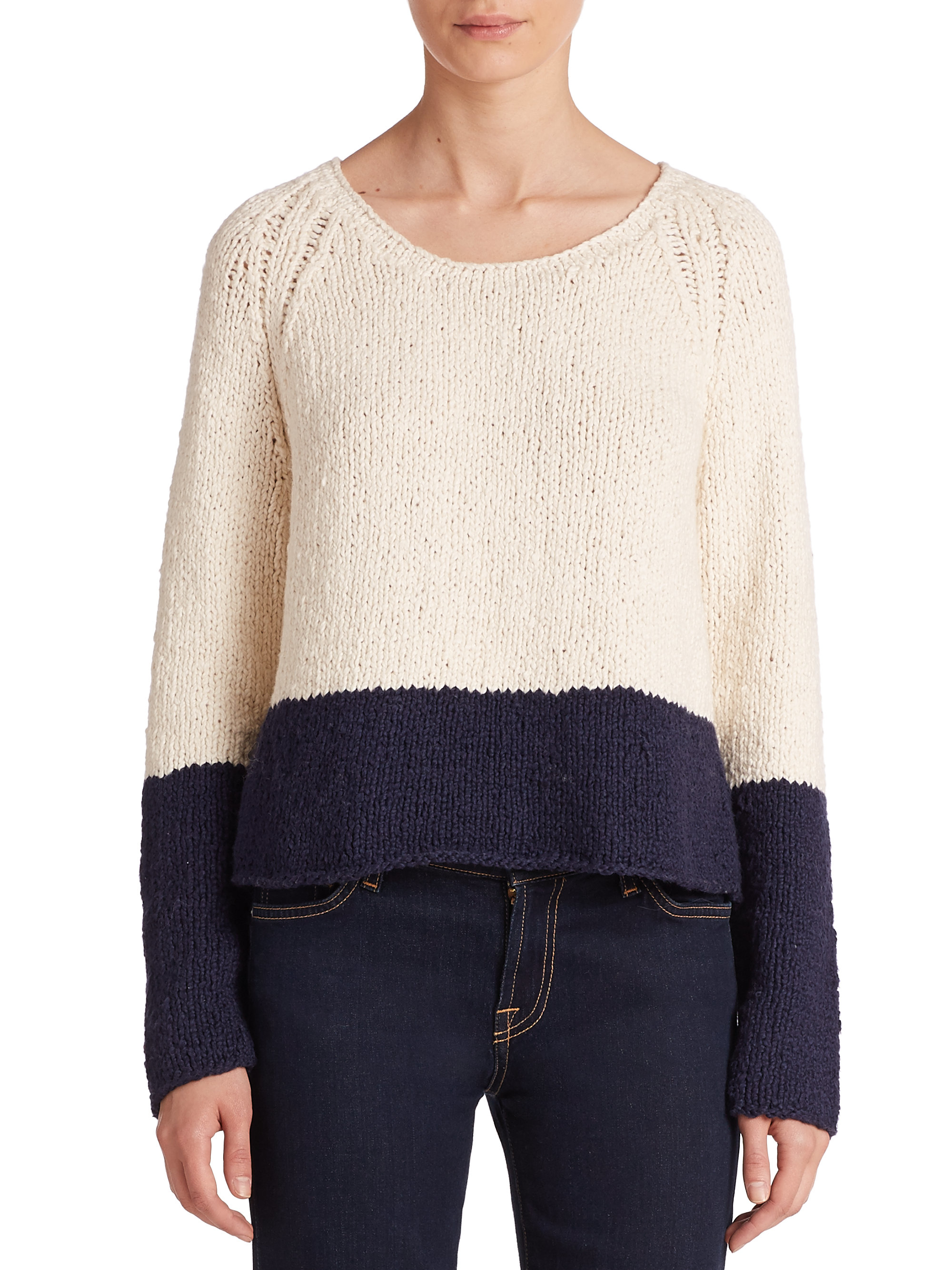 Apiece apart Colorblock Cropped Cotton Sweater in White | Lyst