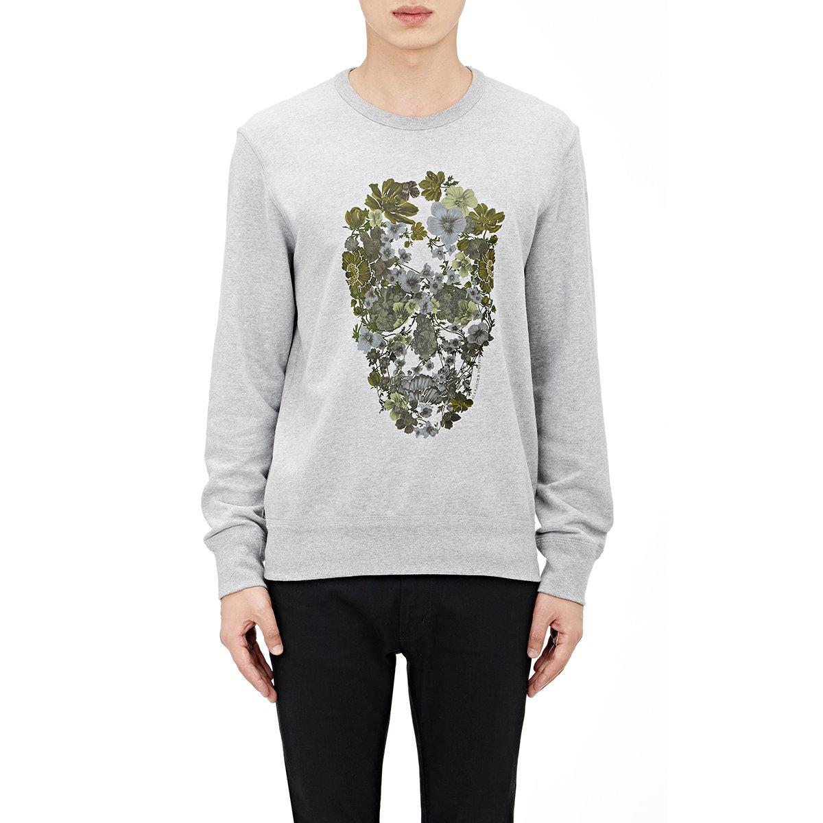 alexander mcqueen flower skull sweatshirt in gray for men lyst. Black Bedroom Furniture Sets. Home Design Ideas