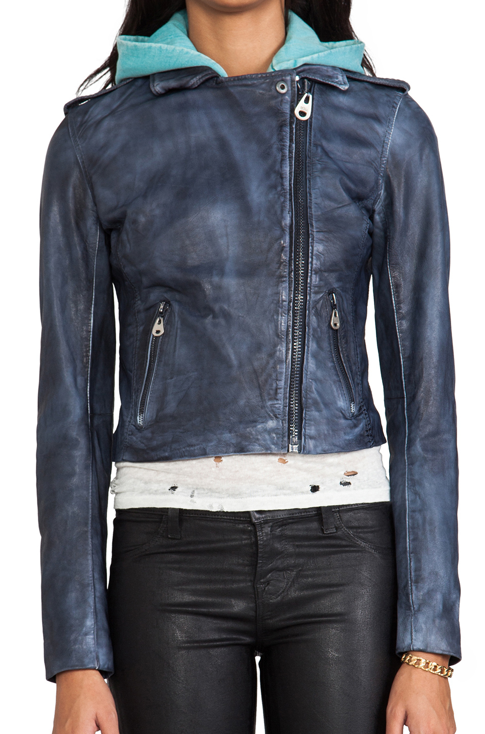 Doma leather Washed Lamb Leather Jacket with Detachable Hood in ...