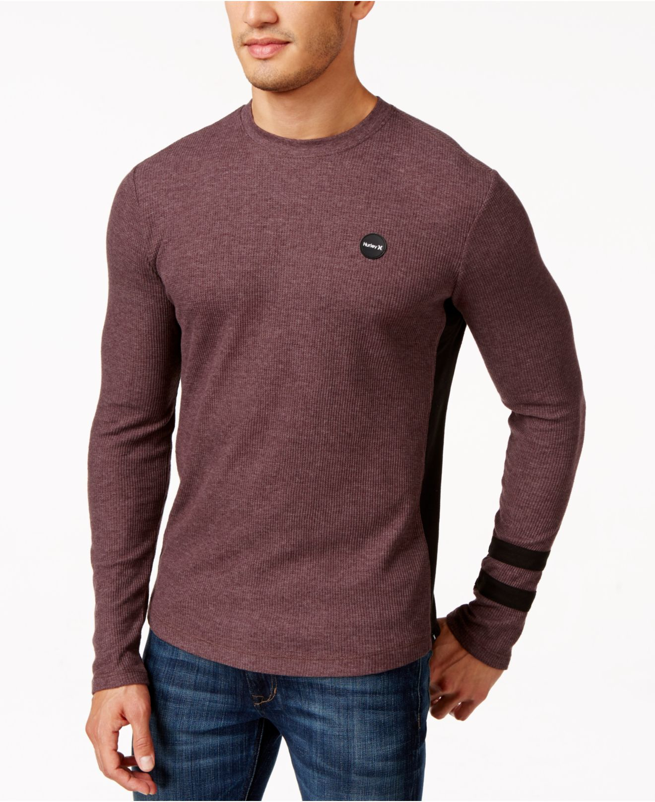 Hurley pano thermal long sleeve t shirt in brown for men Thermal t shirt long sleeve