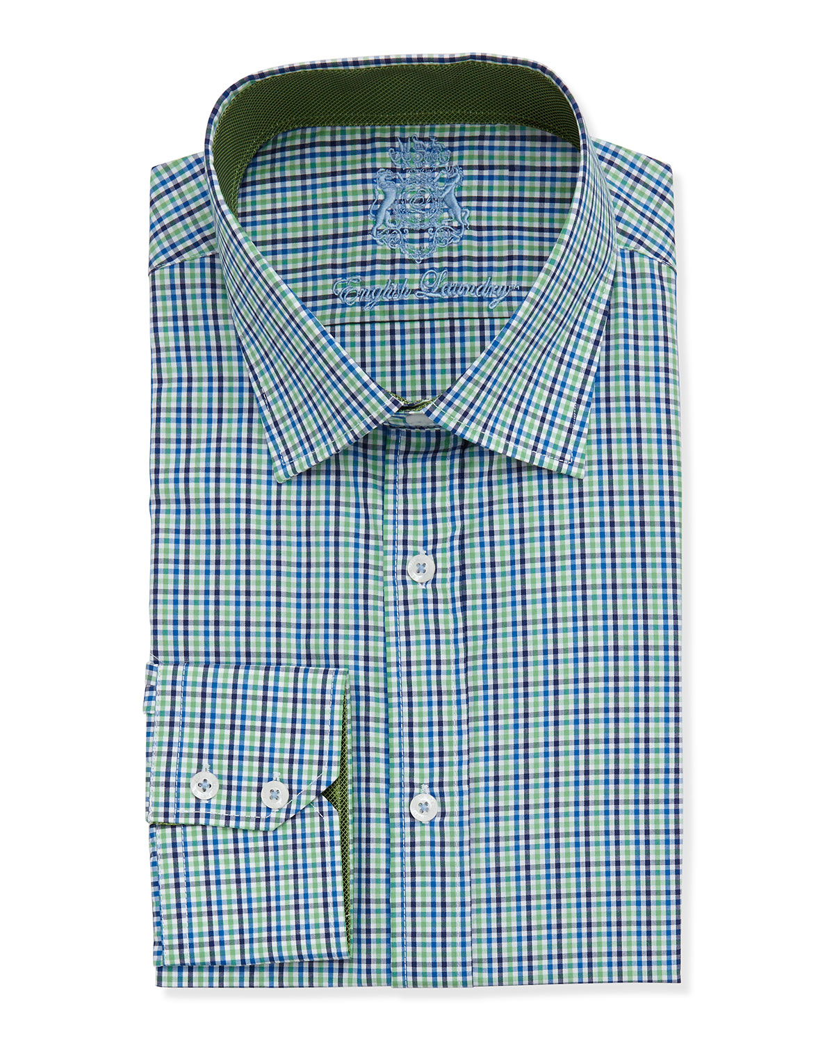 English laundry two tone gingham check dress shirt in blue for Mens green gingham dress shirt