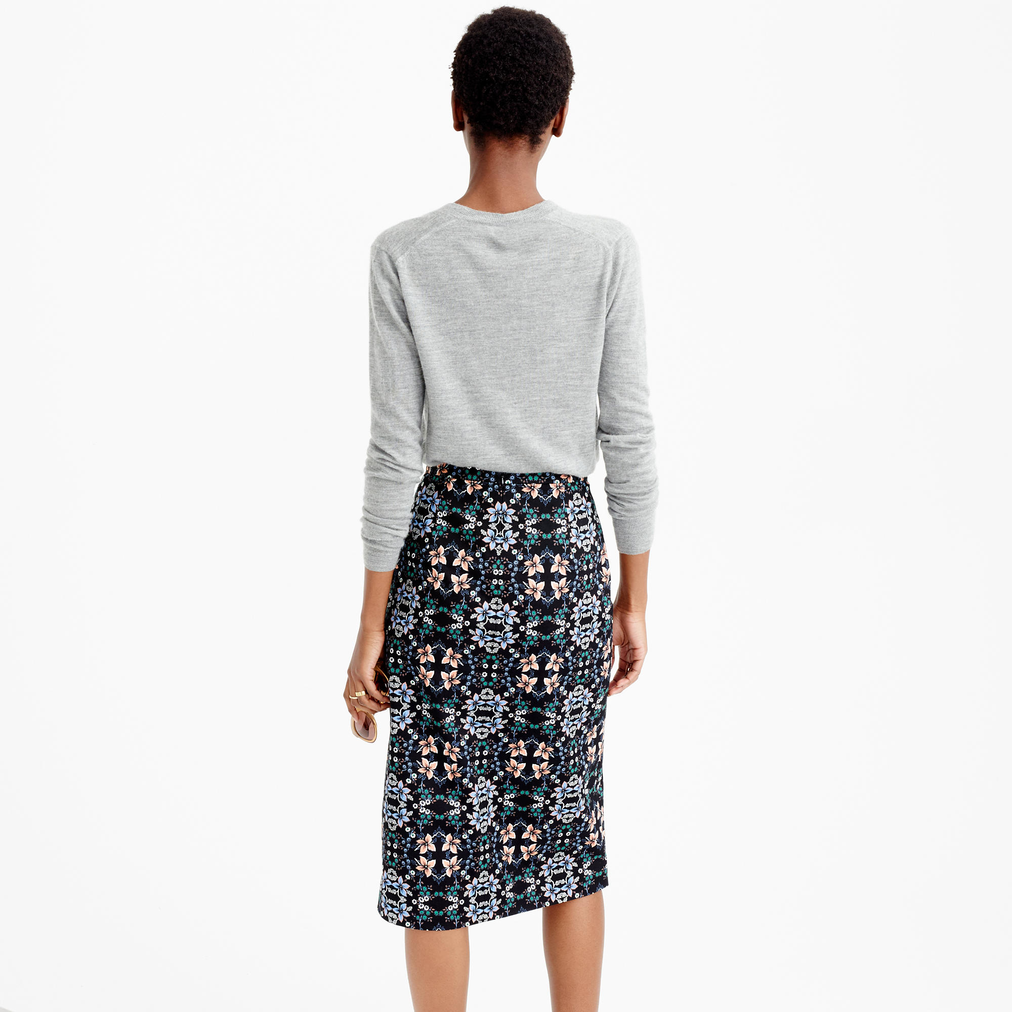 J.crew A-line Midi Skirt In Mirrored Floral in Black | Lyst