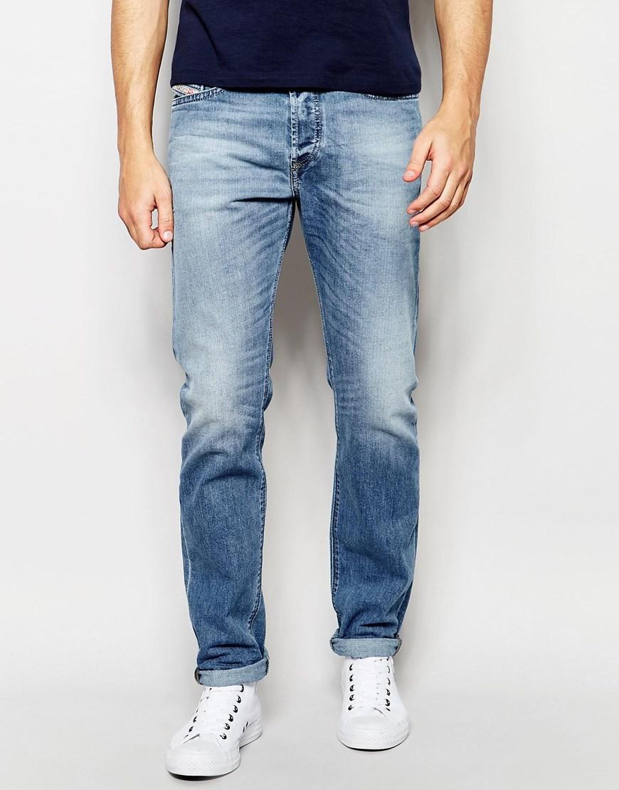 lyst diesel jeans buster 842h regular slim fit stretch light wash in blue for men. Black Bedroom Furniture Sets. Home Design Ideas