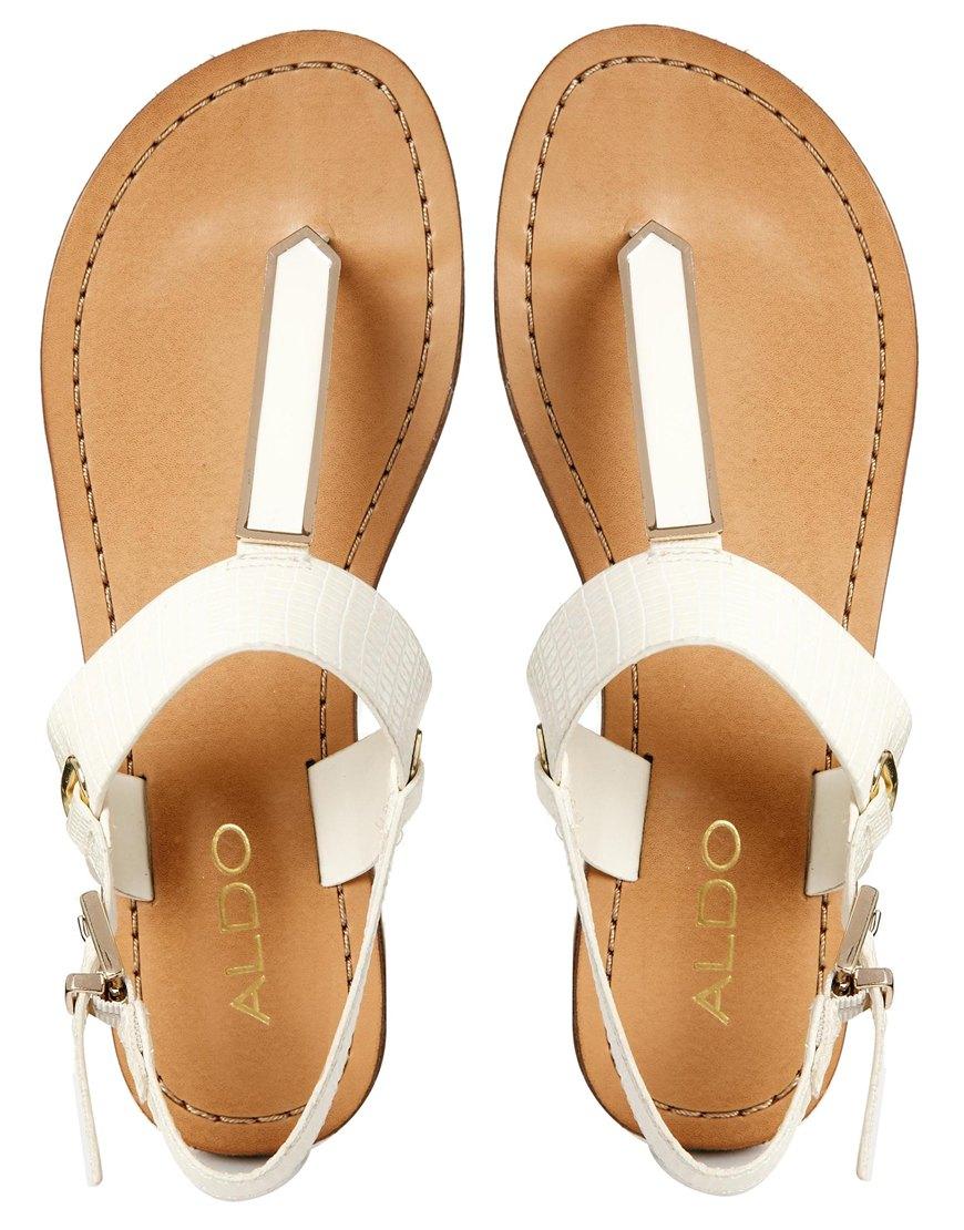 Aldo Slingback Metal Flat Sandals In White Lyst