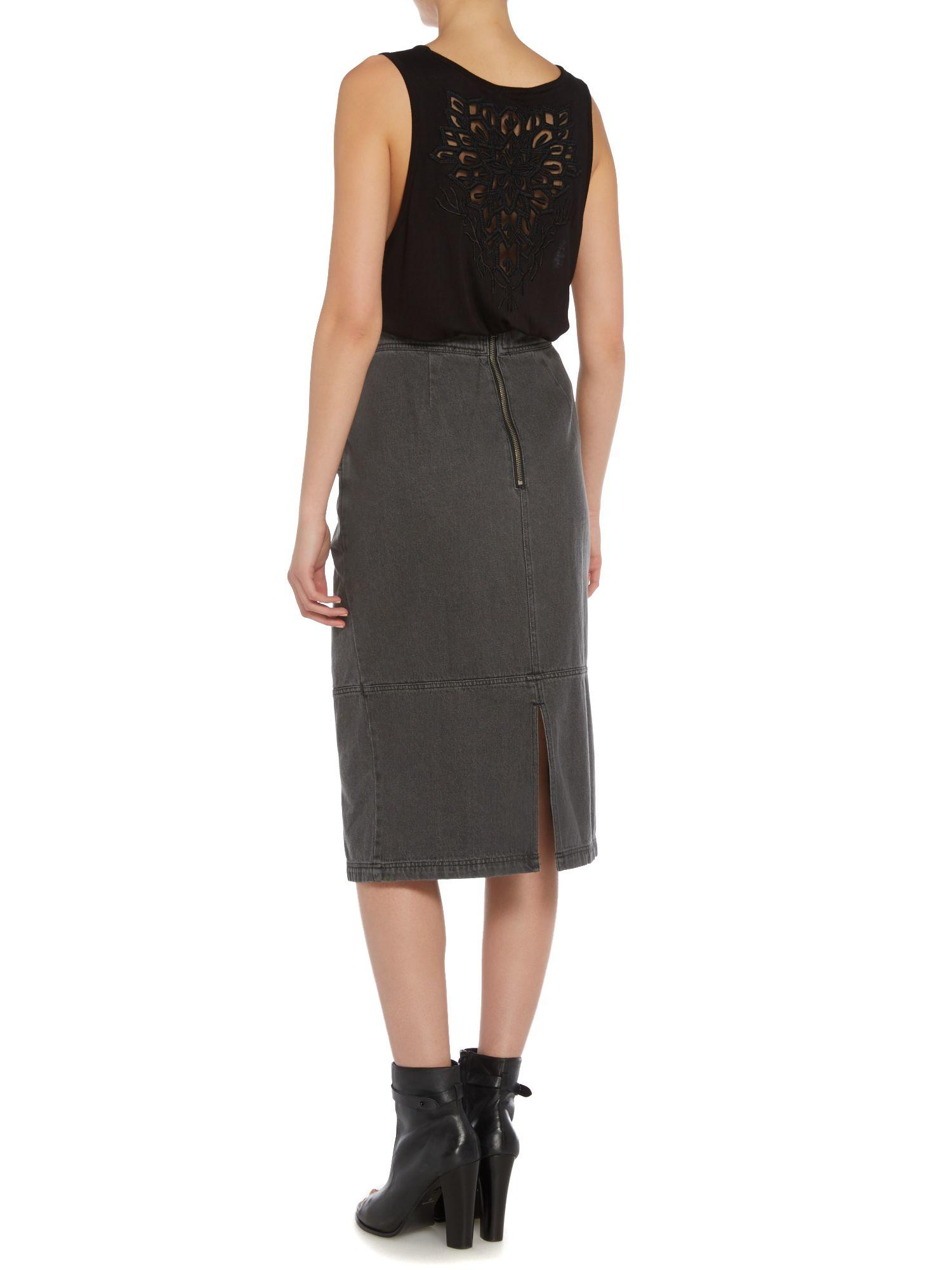 label lab denim pencil skirt in gray lyst