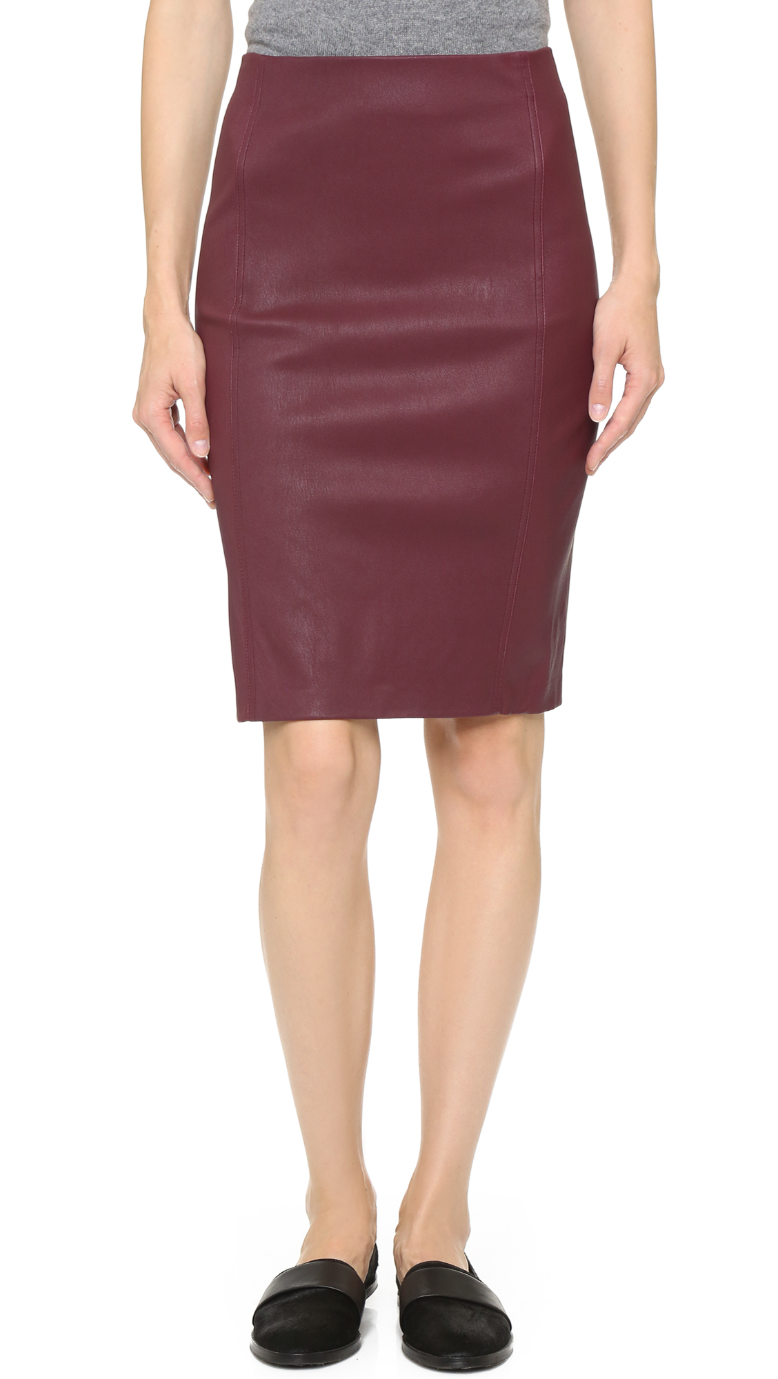 Vince Leather Pencil Skirt - Bordeaux in Purple | Lyst