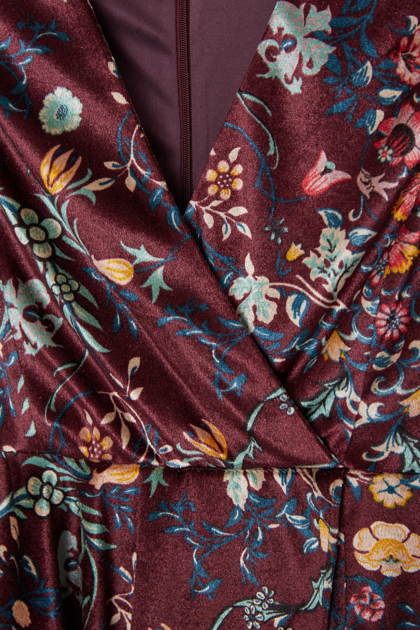 24dd5f4ab6a Lyst - Mango Floral Velvet Jumpsuit in Purple
