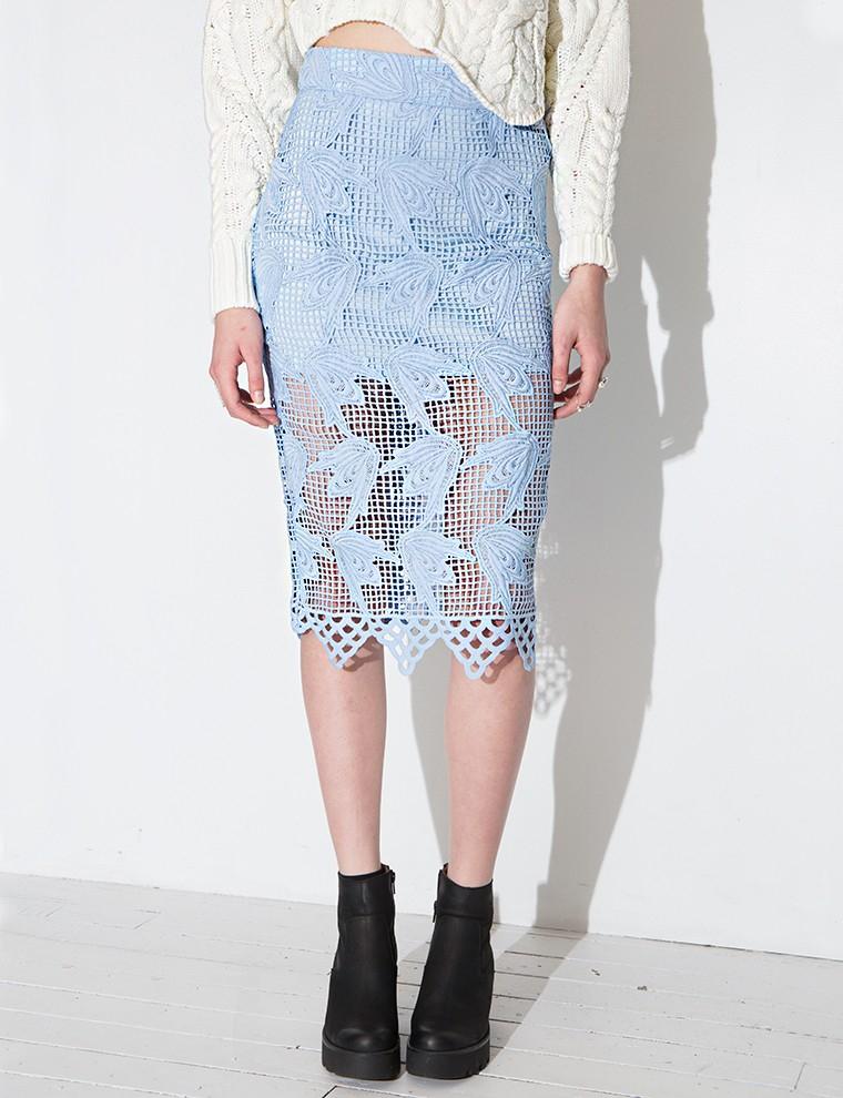 pixie market joa powder blue lace skirt in blue powder