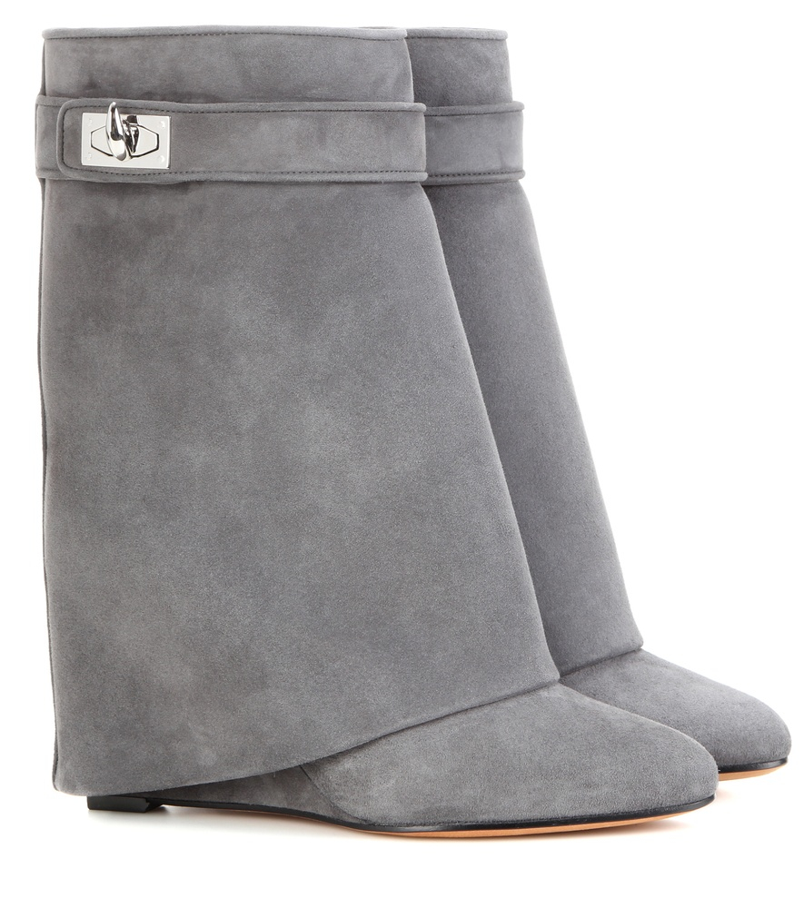b794ddf34cf Givenchy Shark Lock Suede Wedge Boots in Gray - Lyst
