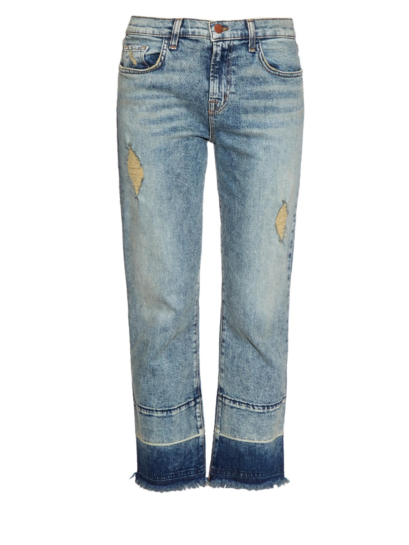 j brand adele distressed cropped flared jeans in blue lyst. Black Bedroom Furniture Sets. Home Design Ideas