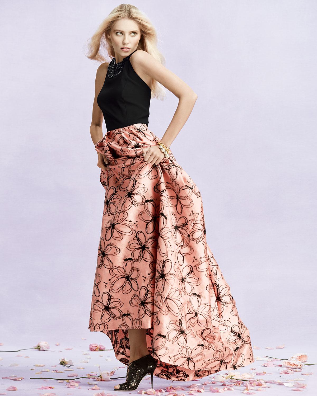 Lyst - Carmen Marc Valvo Halter-neck Gown With Floral Skirt in Black