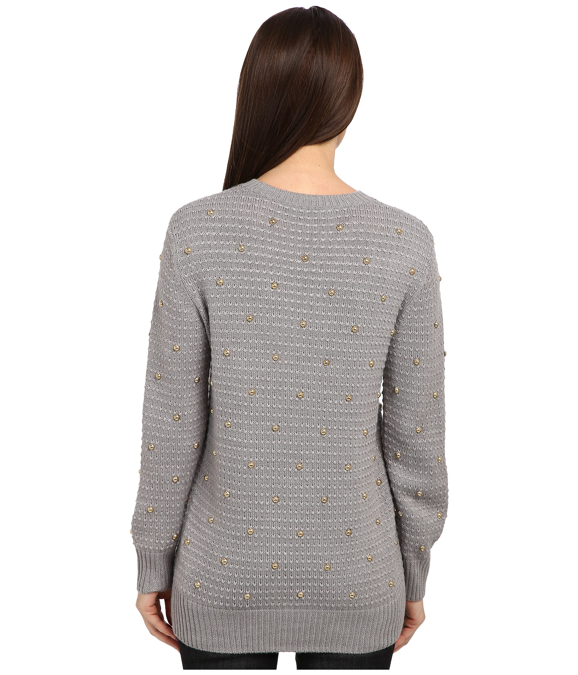 love moschino knit sweater with gold studs in gray lyst. Black Bedroom Furniture Sets. Home Design Ideas