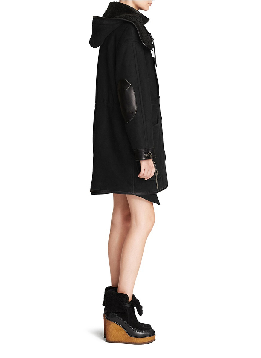 Coach X Blitz Leather Trim Drawstring Shearling Parka in Black | Lyst