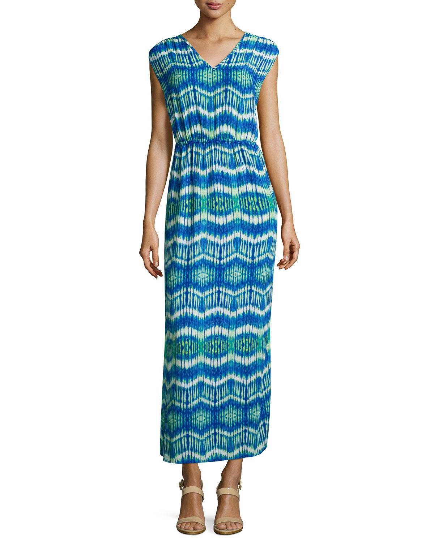 Lyst - Neiman Marcus Tie-dye V-neck Maxi Dress in Blue