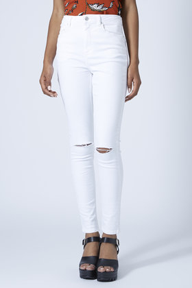 TOPSHOP Moto White Ripped Jamie Jeans