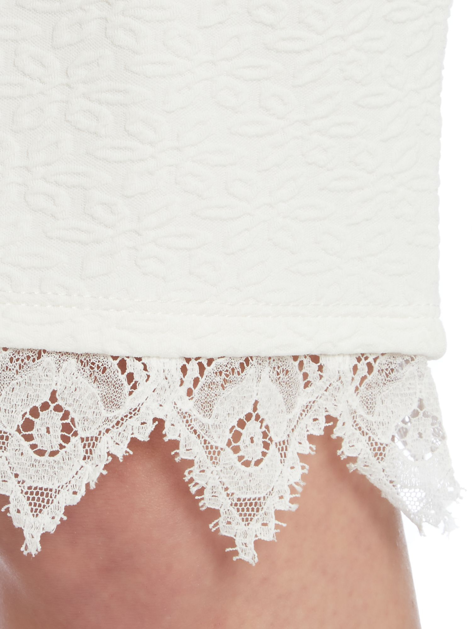 lipsy lace flower bodycon pencil skirt in white lyst