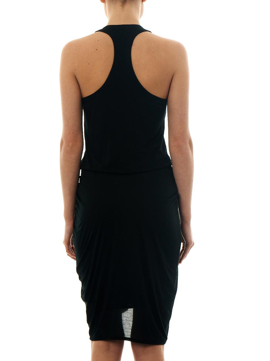 8de0e7e7a96 Lyst - Helmut Lang Racer-Back Jersey Dress in Black
