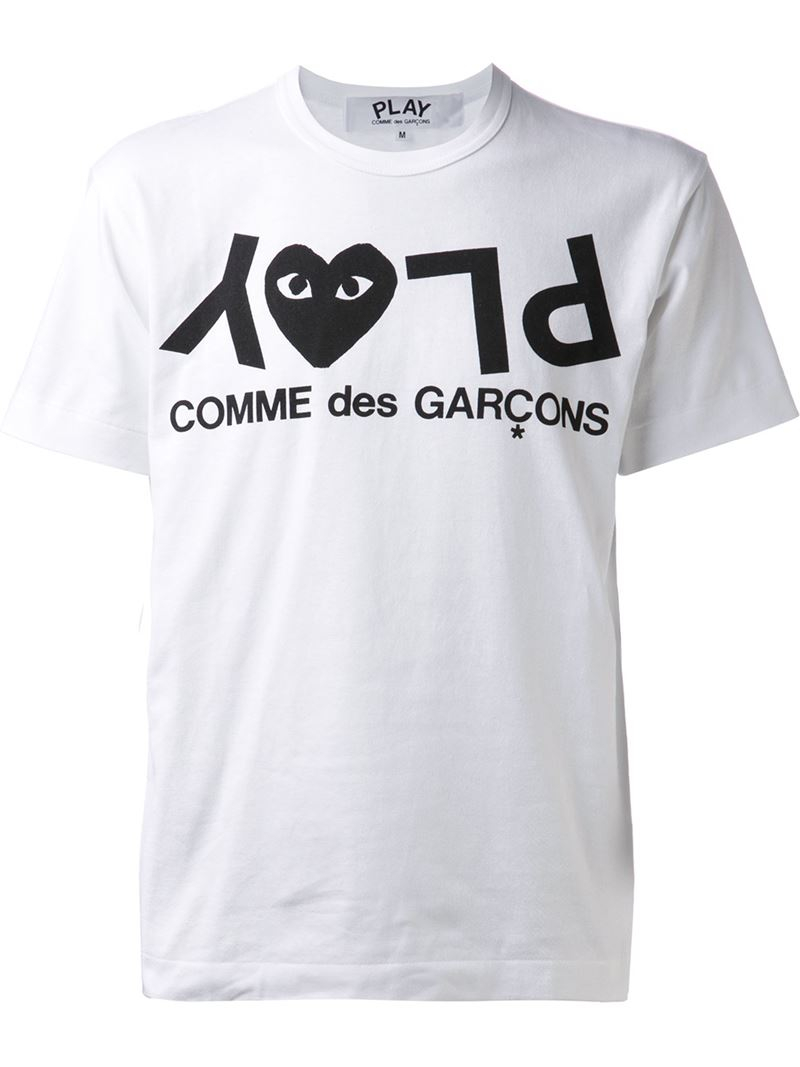 play comme des gar ons printed heart t shirt in white for. Black Bedroom Furniture Sets. Home Design Ideas