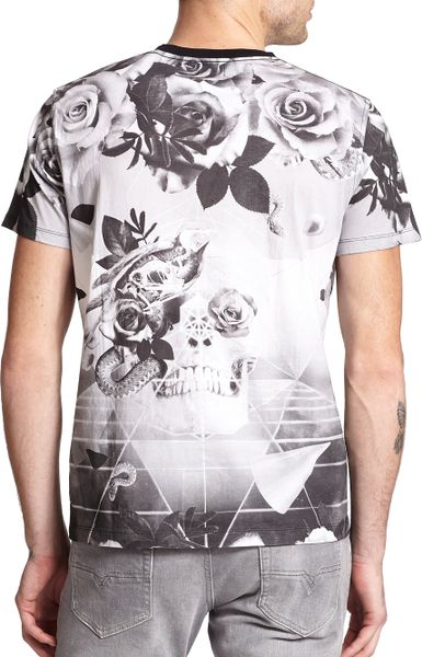 Diesel Skull & Rose Geometric-Print Cotton Tee in Black ...