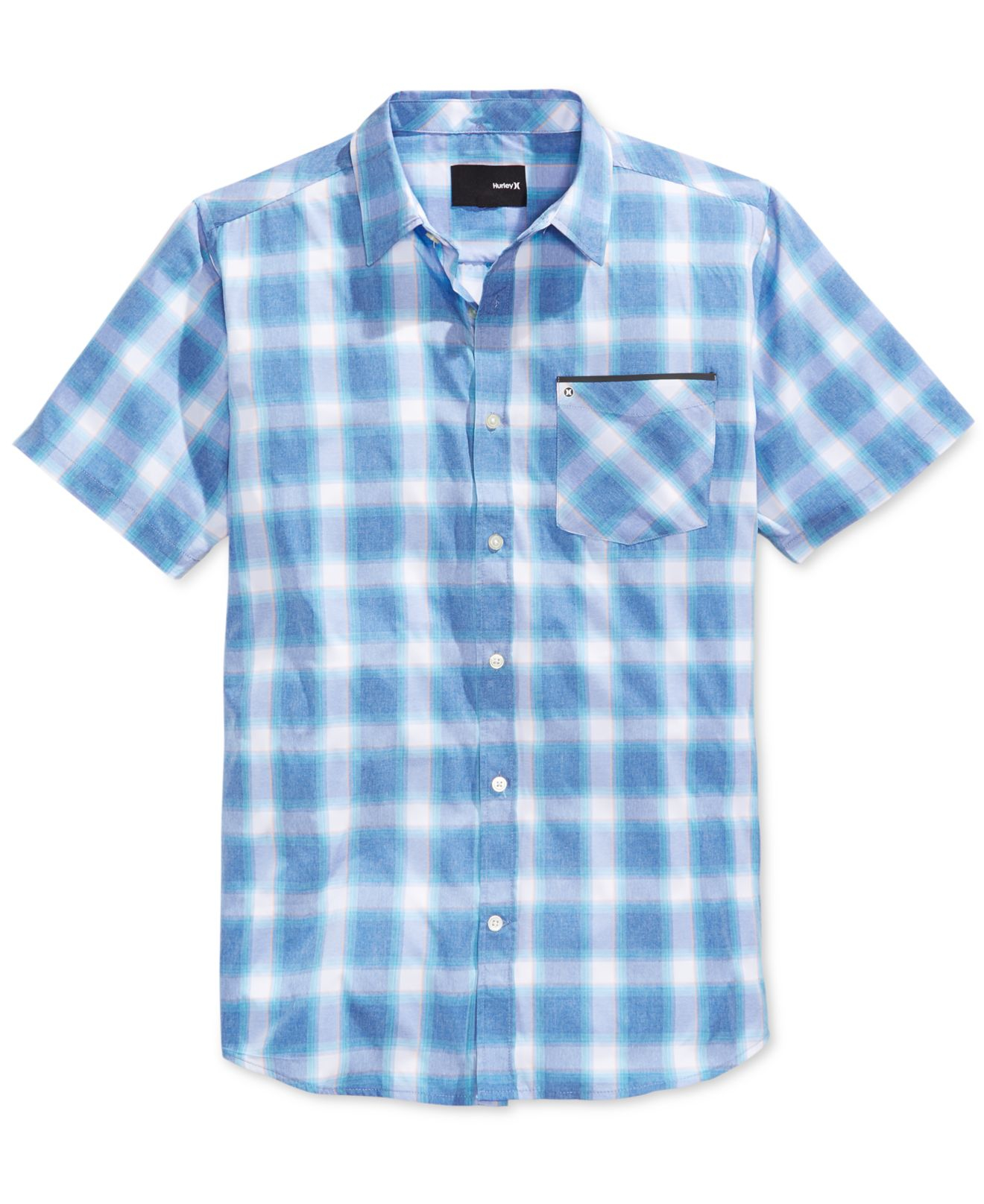 Lyst hurley men 39 s dakota dri fit woven plaid short Short sleeve plaid shirts