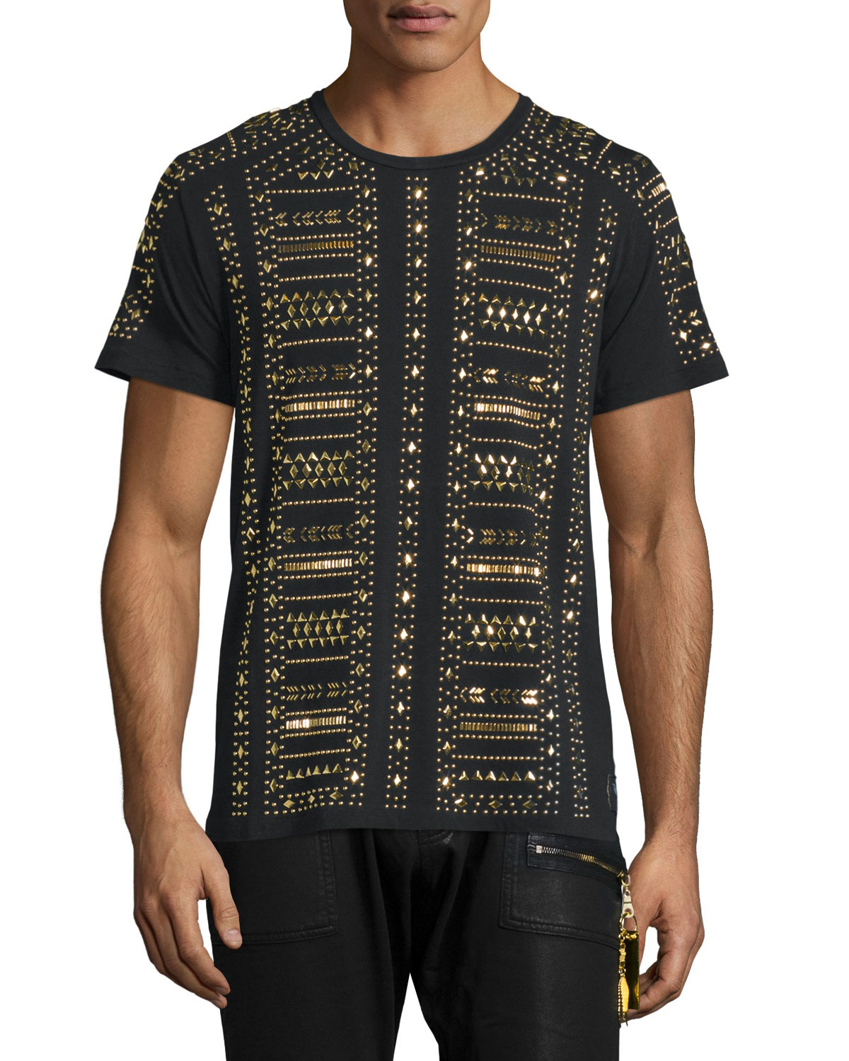 Robin S Jean Gold Metal Studded Short Sleeve T Shirt In