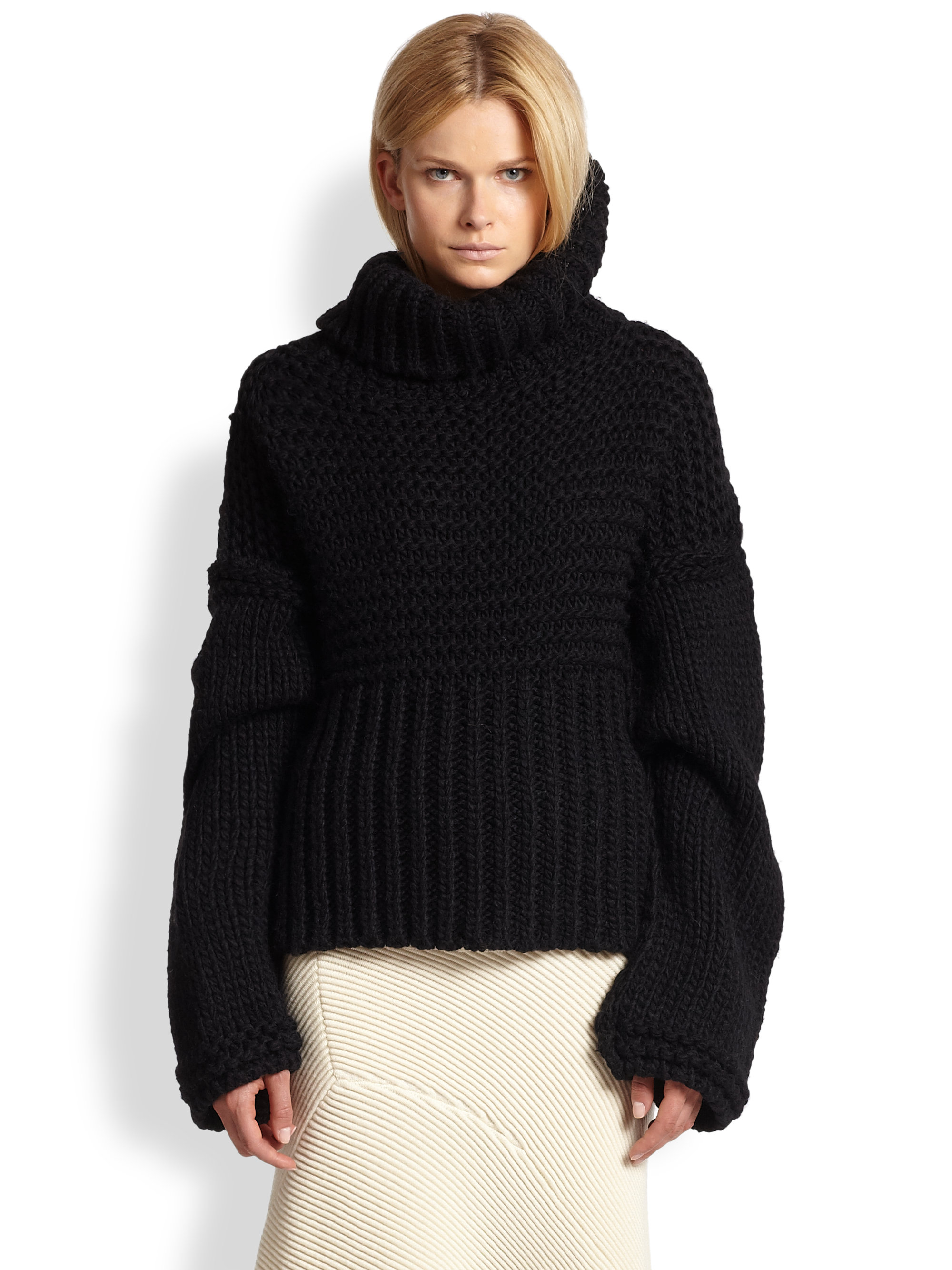 Acne studios Asymmetrical Draped Ribbed Sweater in Black | Lyst