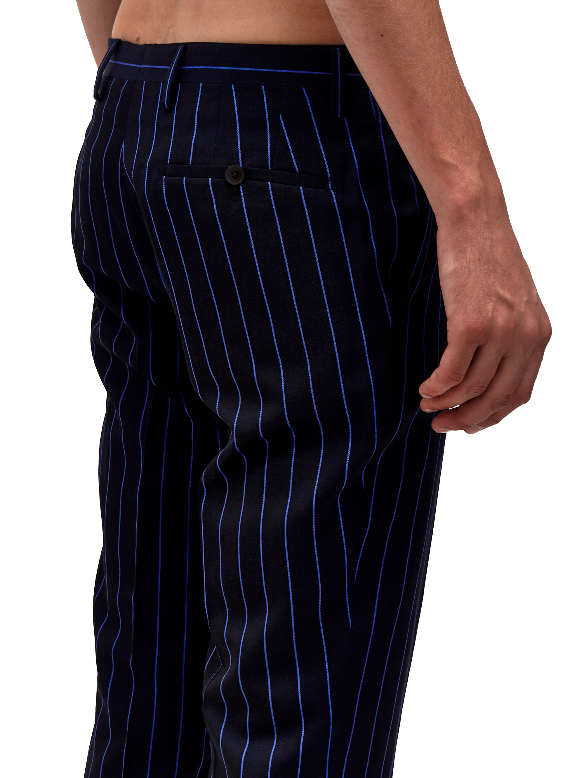 Lanvin Mens Slim Fit Striped Pants in Blue for Men | Lyst