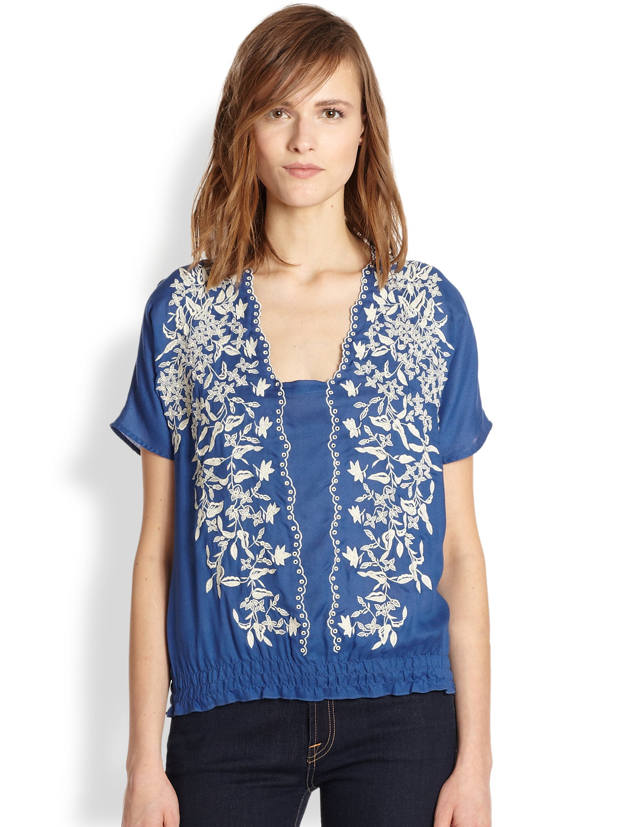 beyond vintage embroidered eyelet top in blue lanai lyst