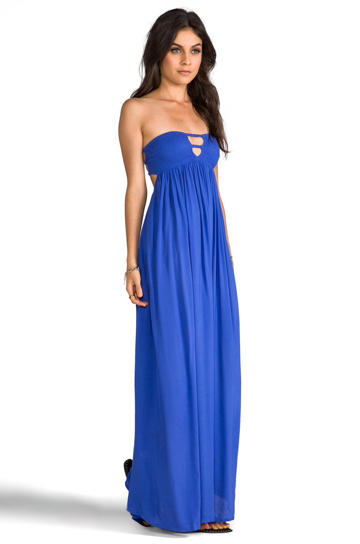 Indah Flamingo Smocked Bandeau Maxi Dress in Blue  Lyst