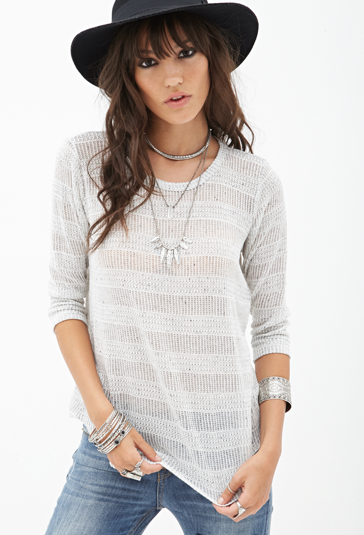 Lyst Forever 21 Striped Open Knit Top In White