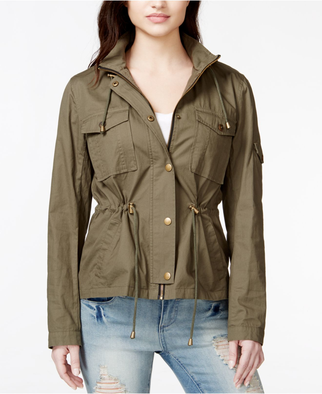 Lyst Maralyn Amp Me Short Hooded Anorak Jacket In Green