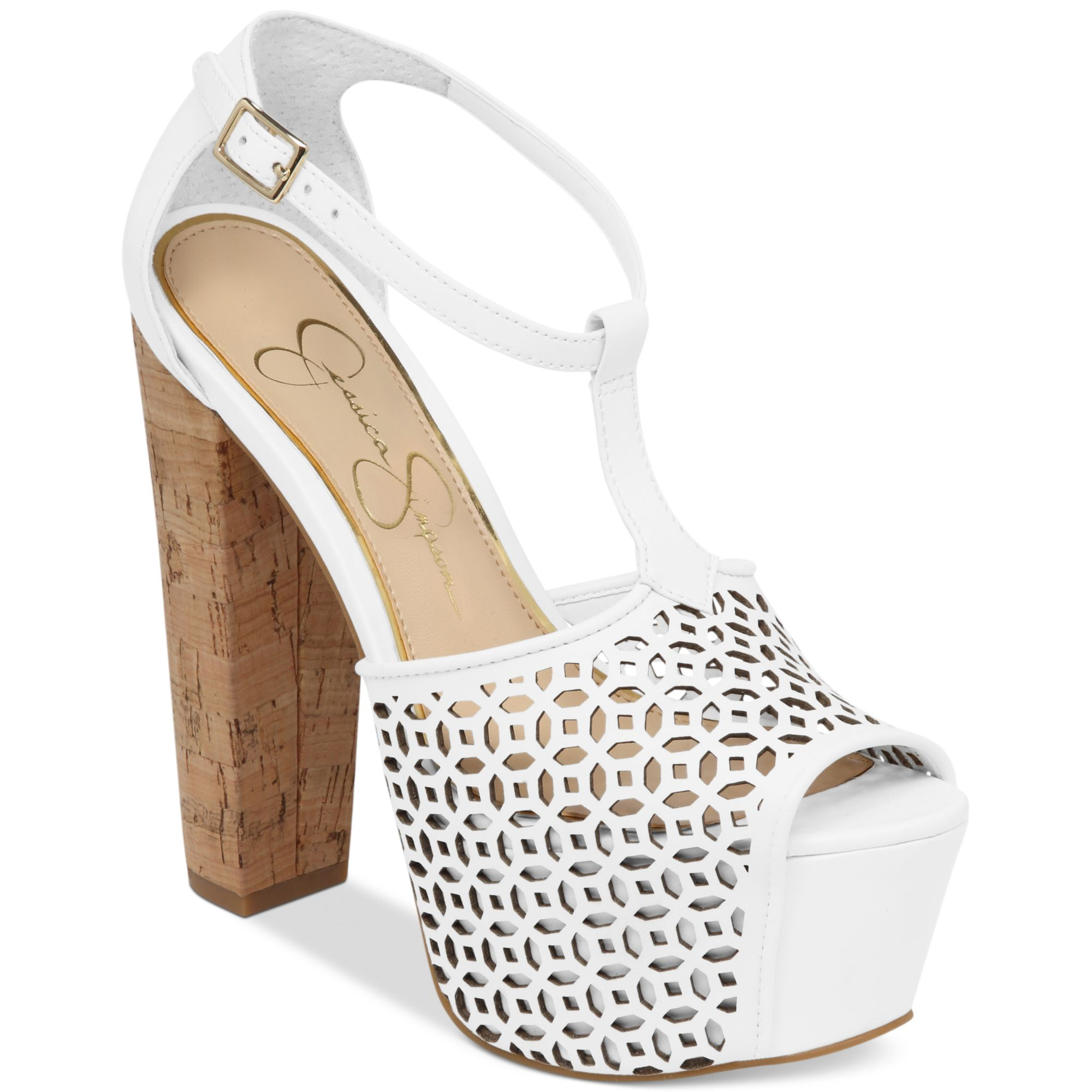 62971ae91967 Lyst - Jessica Simpson Dany Perforated Platform Sandals in White