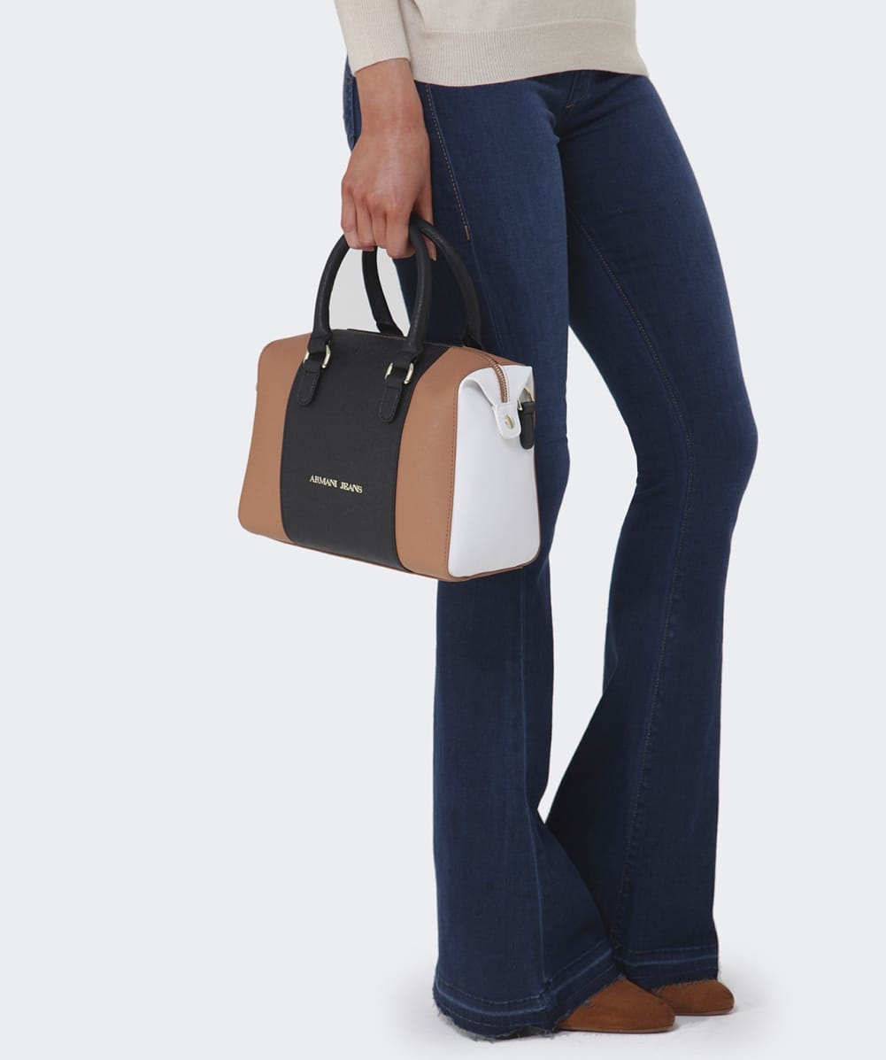 d95b844152ed Lyst - Armani Jeans Faux Saffiano Leather Tote Bag in Brown