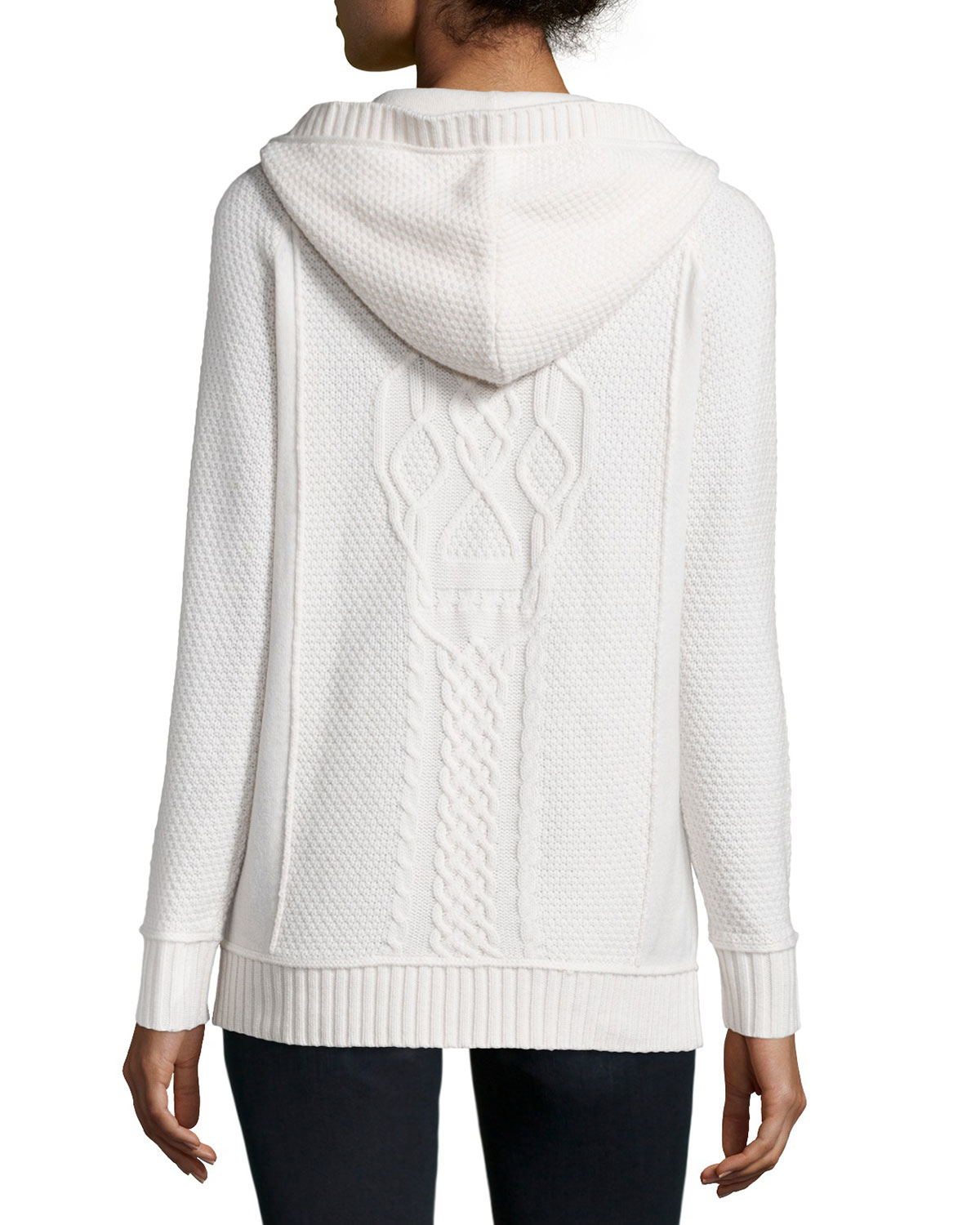 360cashmere Skull Cable-knit Wool-cashmere Hoodie in White | Lyst
