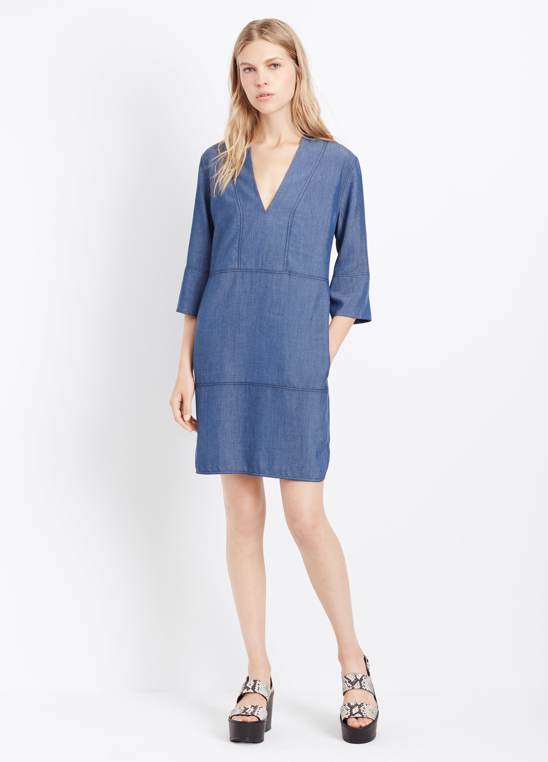 Lyst vince oversized chambray shift dress in blue for Chambray dress