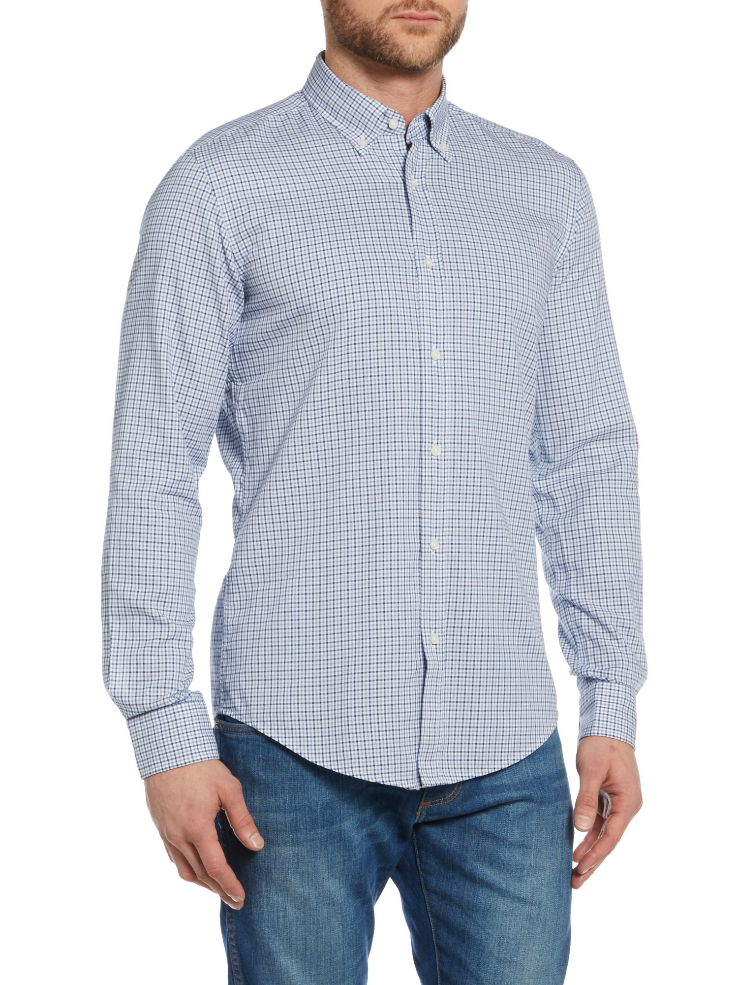 Lyst boss rod 2 slim fit check shirt in blue for men for Slim fit check shirt